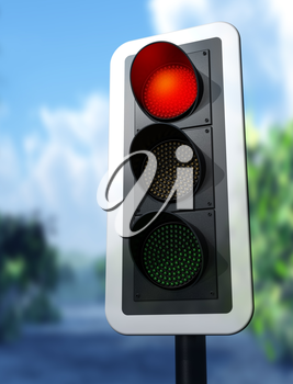 Illustration of a red traffic light on a country road