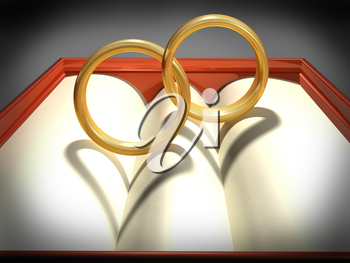 Two interlocking wedding rings with heart shadows