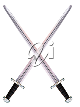 Isolated illustration of two crossed Viking long swords