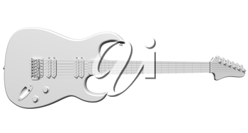 Illustration of an isolated all white electric guitar