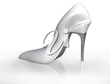 Illustration of an original white stiletto shoe design fit for marriage