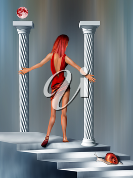 Surreal illustration of a woman in red climbing impossible stairs