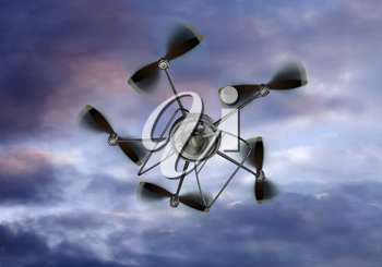 Royalty Free Clipart Image of a UAV Helicopter