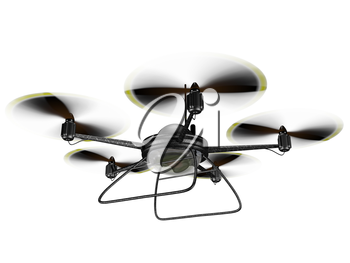 Royalty Free Clipart Image of a Hovering Spy Drone