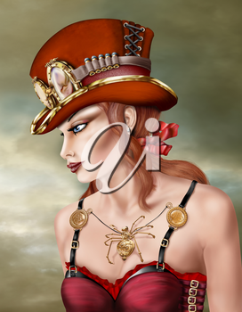 Steam punk woman wearing a red hat and dress with a brass spider