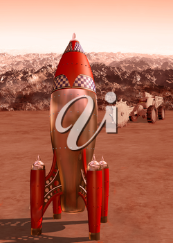 Stylized illustration of a retro rocket on the surface of Mars
