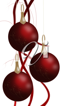 Royalty Free Clipart Image of Hangning Christmas Ornaments