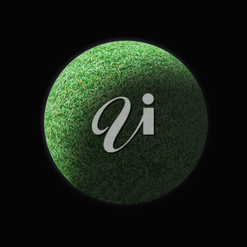 Realistic Planet of green grass isolated on black background.