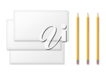 Set of Blank Envelopes and Yellow Pencils Isolated on White Background. With Soft Shadows.