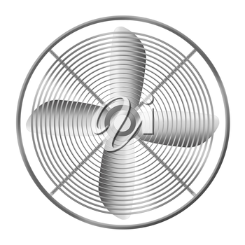 Modern realistic metallic fan isolated on white background. Highly detailed illustration.