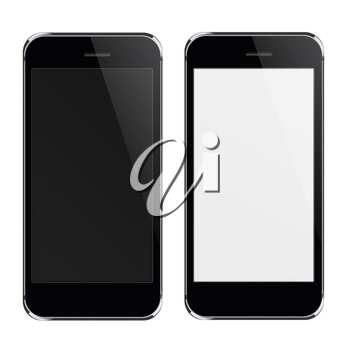 Realistic black mobile phones with black and blank screen isolated on white background. Highly detailed illustration.