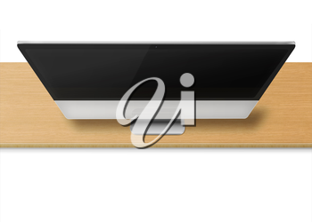 Modern computer monitor with black screen on wooden desk isolated on white  background. Front view from the top. Highly detailed illustration.
