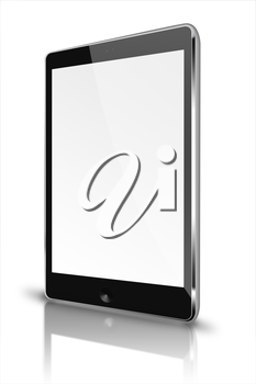Realistic tablet computer with blank screen and reflection isolated on white background. Highly detailed illustration.
