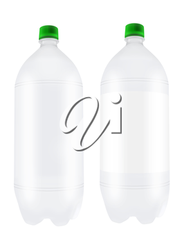 Empty two liter plastic bottles isolated on white background. Highly detailed illustration.