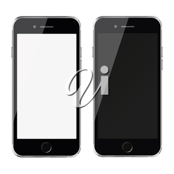 Mobile smart phones with white and blank screen isolated on white background.