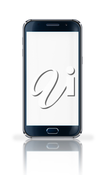 Realistic mobile phone with blank screen, reflection and shadows isolated on white background. Highly detailed illustration.