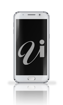 Realistic mobile phone with black screen, reflection and shadows isolated on white background. Highly detailed illustration.