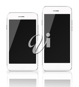Mobile smart phones with black screen isolated on white background. Highly detailed illustration.
