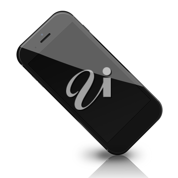 Smart phone with black screen, shadows and reflections isolated on white background. 3D illustration.