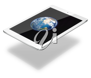 Realistic tablet pc computer with Earth from space on screen isolated on white background. 3D illustration. Elements of this image furnished by NASA.