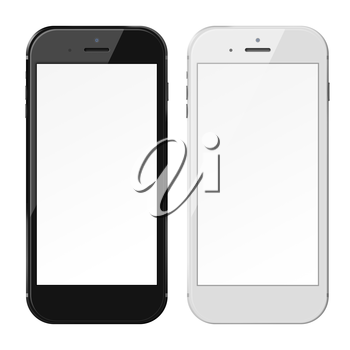 Smart phones with blank screens isolated on white background. 3D illustration.