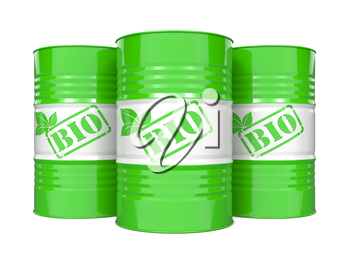 Fuel of a Biological Origin Concept. Three Green Barrels on White Background.
