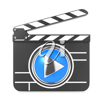 Clapboard Icon with Blue Screen. Media Player Concept.