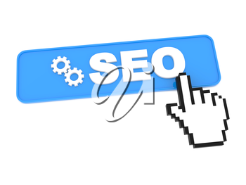 Search Engine Optimization Button and Hand-Shaped Mouse Cursor.