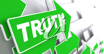 Truth - Business Concept. Green Arrow with Truth slogan on a grey background. 3D Render.
