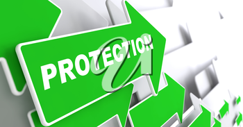 Protection - Business Concept. Green Arrow with Protection slogan on a grey background. 3D Render.
