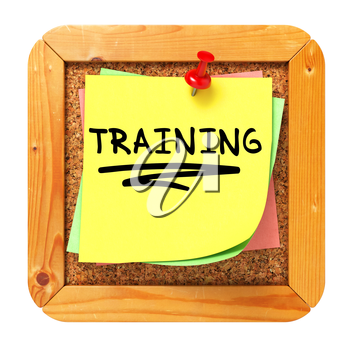 Training, Yellow Sticker on Cork Bulletin or Message Board. Business Concept. 3D Render.