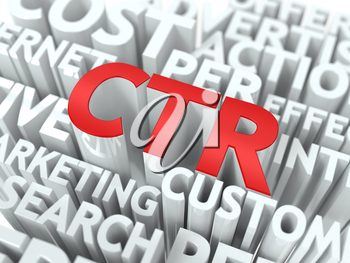 CTR - Click Through Rate Wordcloud Concept. The Word in Red Color, Surrounded by a Cloud of Words Gray.
