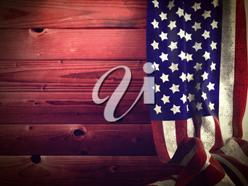 American Flag on a Background of Wooden Planks. Grunge Background.