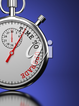 Time To  Upgrade Concept. Stopwatch with Time To Upgrade slogan on a blue background. 3D Render.