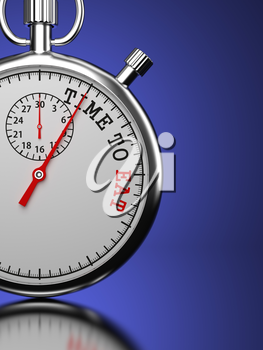 Time To Eat Concept. Stopwatch with Time To Eat slogan on a blue background. 3D Render.