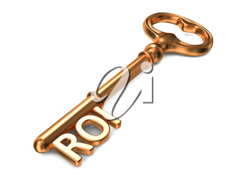 ROI - Golden Key on White Background. 3D Render. Business Concept.
