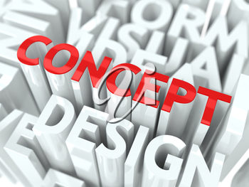 Concept the Word of Red Color Located over Text of White Color.