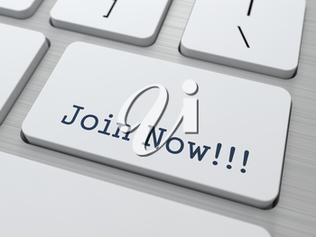 Join Now - Button on Modern Computer Keyboard.