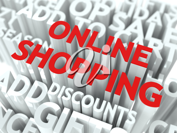 Online Shopping Concept. The Word of Red Color Located over Text of White Color.