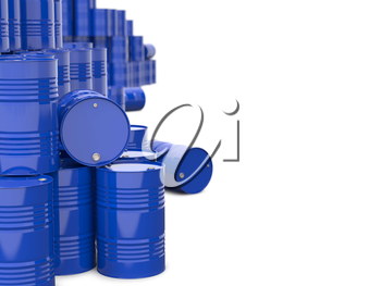 Industrial Background with Blue Barrels.