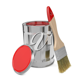 Paint Can with Red Paint and Paintbrush Isolated on White Background.