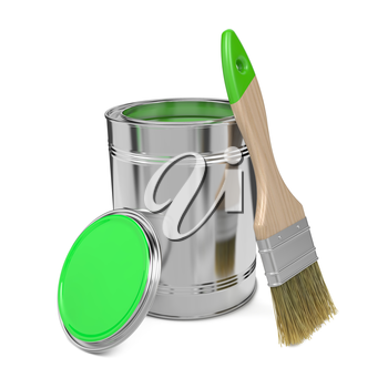 Paint Can with Green Paint and Paintbrush Isolated on White Background.