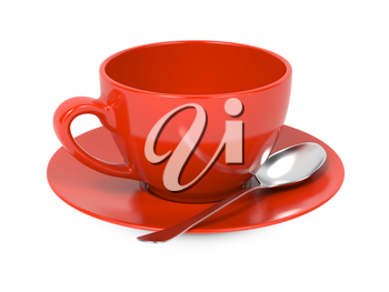 Red Coffee Cup with Spoon and Saucer Isolated on White Background.