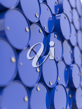 Oil Barrels or Chemical Drums Stacked Up. Industrial Background with Selective Focus.