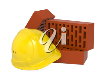 Safety Helmet and Bricks Isolated on White Background.