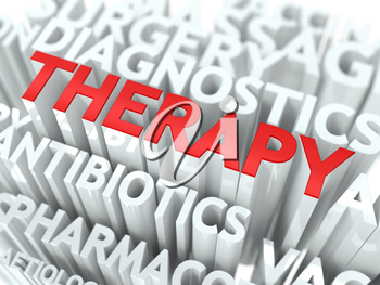 Therapy Concept. The Word of Red Color Located over Text of White Color.