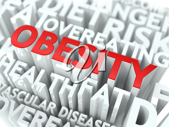 Obesity Concept. The Word of Red Color Located over Text of White Color.