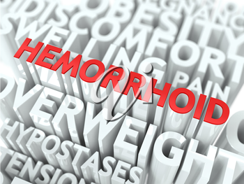 Hemorrhoid Concept. The Word of Red Color Located over Text of White Color.
