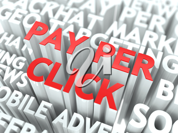 Pay Per Click (PPC) Concept. The Word of Red Color Located over Text of White Color.