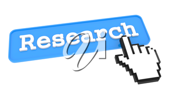 Research Button with  Hand Shaped mouse Cursor
